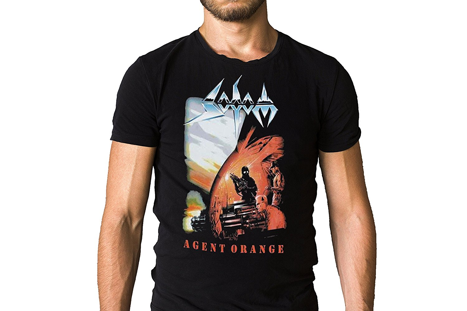Sodom Agent Orange 1989 Album Cover Double Print Cheap Sale 100 % Cotton T Shirts For Bo ...