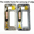 Free shipping White / Blue / Gold Middle Frame Housing Bezel Mid Chassis with Side key For Samsung Galaxy S7 S7 Edge