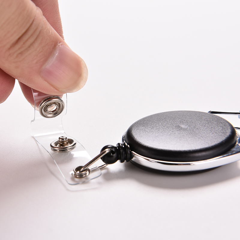 1PCS New Black Retractable Pull Badge Reel Zinc Alloy ID Lanyard Name Tag Card Recoil Belt Key Ring Chain Clip High Qualit