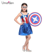 Umorden Purim Carnival Halloween Captain America Costume for Girls Fantasia Dress Disfraces