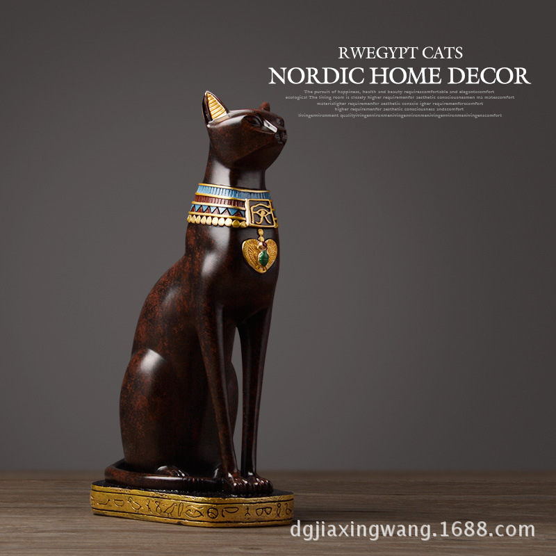 Egypt black cat figurines Lucky cat decoration home decoration accessories Antique miniature figurines rustic home decor in Figurines Miniatures from Home Garden