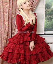 Noble Style Lace Long Sleeves Women Lolita Tutu Dress with Layering Design Multicolored