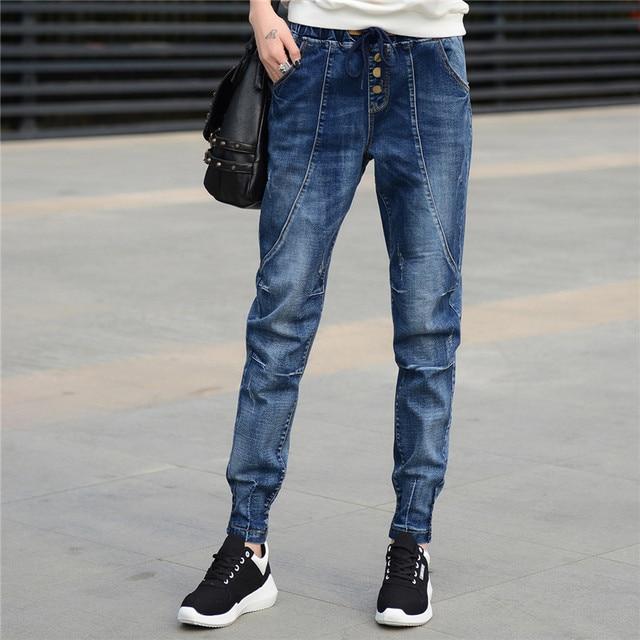 Boyfriend Jeans Women Harem Pants Trouser Casual Plus Size Loose Denim Jeans Streetwear Ladies Vintage Washed Jeans Mujer Q210