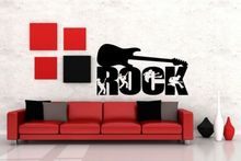 Free shiping Rock Guitar Music Wall Art Removable Wall Decal Vinyl Wall Sticker Home Decor Home Stickers Wallpaper Wall Mural rock wall patterned door art stickers