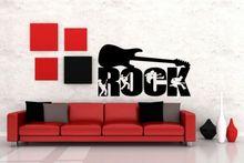 Free shiping Rock Guitar Music Wall Art Removable Decal Vinyl Sticker Home Decor Stickers Wallpaper Mural