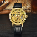 MCE 2017 New Luxury Fashion Mechanical wristwatch men High Quality Brown leather gold skeleton watch relojes hombre clock men