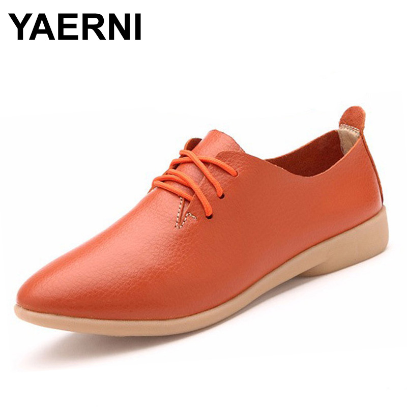 где купить YAERNI Split Leather Oxford Shoes For Women Pointed Toe Casual Nurse Shoes Autumn Flat With Leather Women Loafers Shoes 2017 по лучшей цене