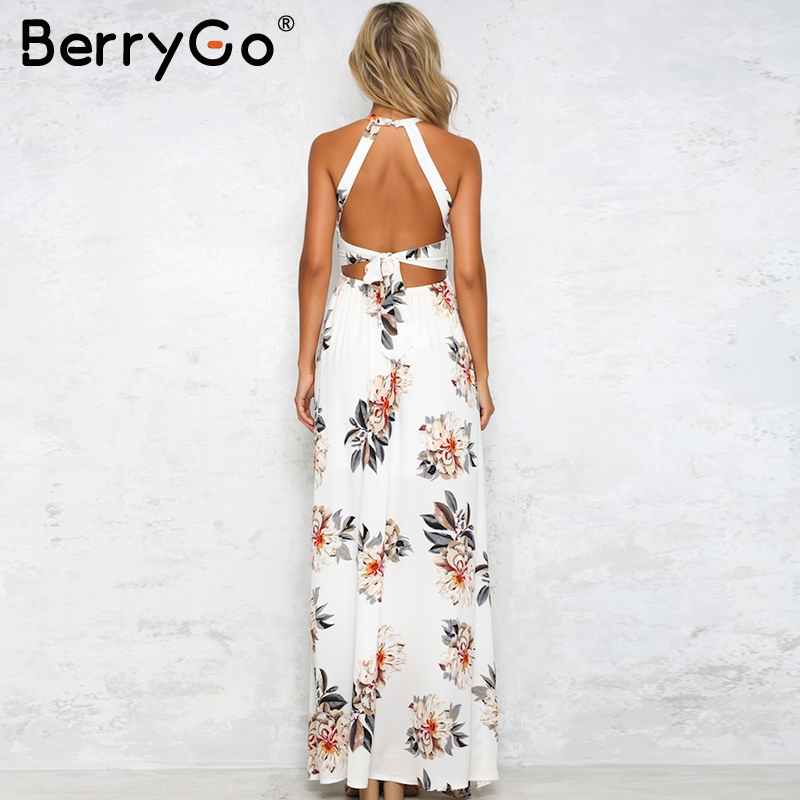 BerryGo Floral print halter chiffon long dress Women backless 2017 maxi dresses vestidos Sexy white split beach summer dress 3