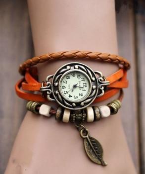 Fashion Vintage Leaf PU Leather Band Women Quartz Bracelet Watches 3