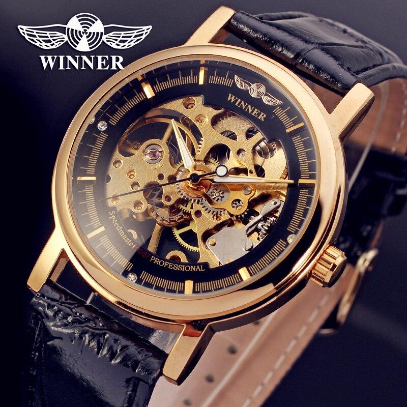 Fashion font b WINNER b font Men Luxury Brand Hand wind Leather Casual Watch Automatic Mechanical