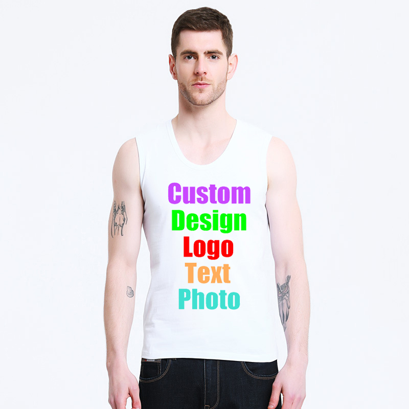 2018 Sleeveless Solid White Black Grey Men Tees Tanks Tops Custom Logo Photo Text DIY Design Printed Male Customized Man Shirts