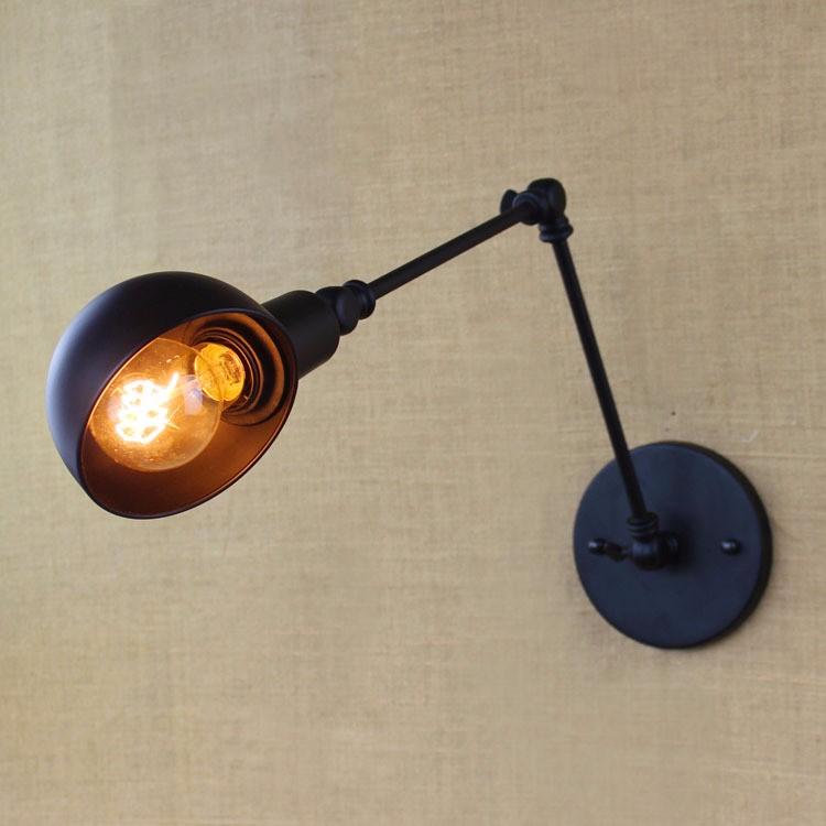 E27 Base Retro Loft Industrial LED Vintage Wall Lamp light Wall Sconce Adjustable Handle Metal Rustic Loft Light Sconce Fixtures (8)