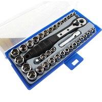 """38 em 1 chave de torque conjunto soquete 3/8 """"polegadas/métrica catraca driver chave soquete kit conjunto de ferramentas trox para reparo do carro mão kit Conjuntos ferramenta manual     -"""