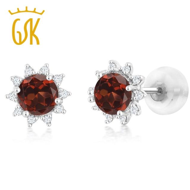 Fine Jewelry 4mm Round Genuine Garnet 14K White Gold Stud Earrings b0o1a3tAy