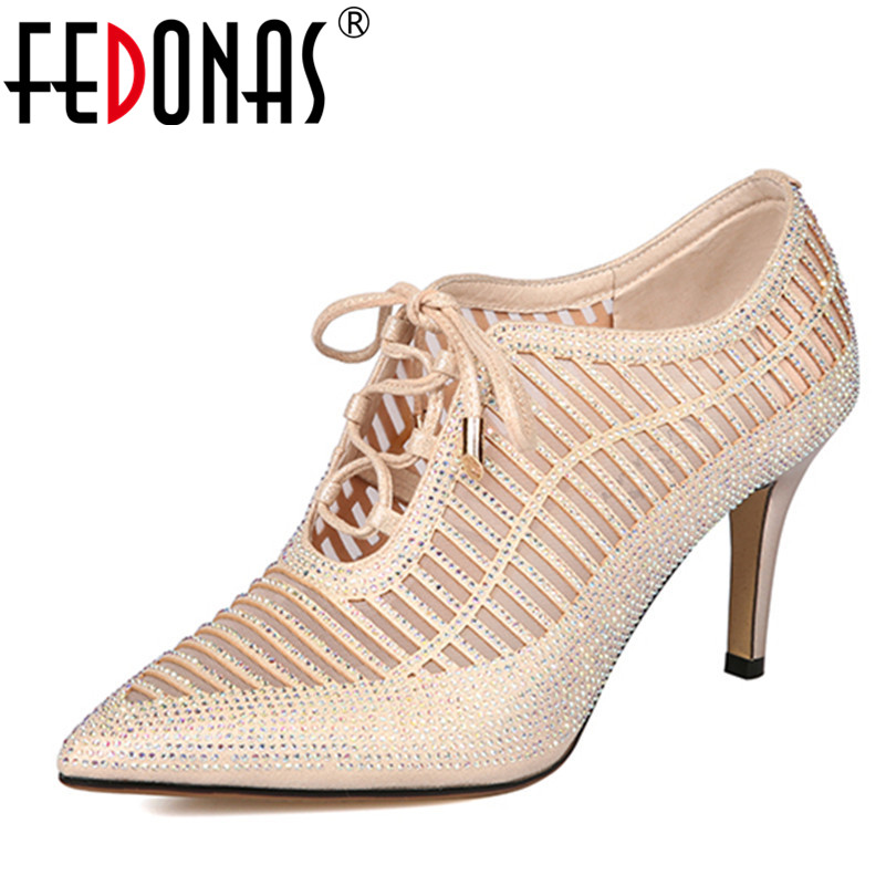 FEDONAS Women Sexy High Heels Shoes Woman Sequined Cloth Rhinestone Wedding Party Shoes High Heels Summer Hight Heels Pumps shoes women high heels sexy wedges platforms glitter diamond shoes wedding shoes rhinestone heels party shoes pumps
