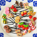 2016 Real Hot Sale $ Super Adorable Cute Harajuku Soft Candy Hairpin Girl Fruit Pendants Word Folder Fashion Lady Accessories
