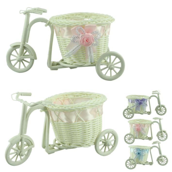 New 1pcs big wheel round basket rattan floats flower vase flowerpots containers small flower bike/flower pot Pink