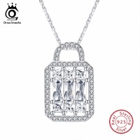 ORSA JEWELS Top Quality Trendy Lock Shape 925 Sterling Silver Pendant AAA CZ Necklace With 45CM