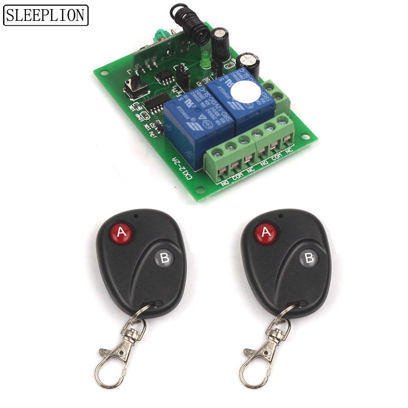 Sleeplion 12V 2CH RF Smart Remote Control On Off 12V 10A 2CH Transceiver+Receiver 315MHz/433MHz Learn Code Smart Remote ON OFF