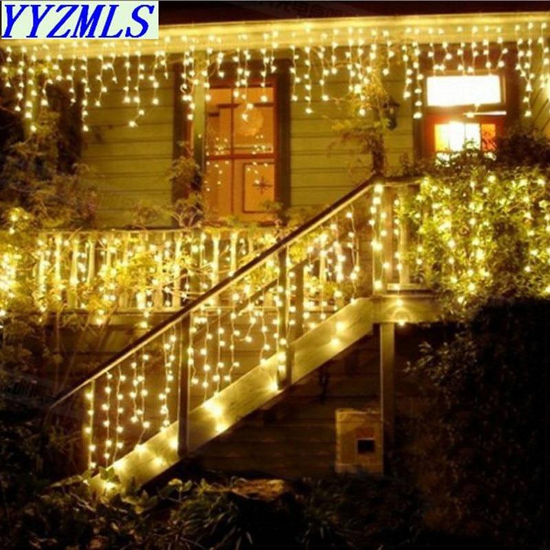 Guirnalda de la Navidad cortina LED carámbano Luz de 220 V 4,5 m 100 Leds interior gota LED fiesta jardín escenario al aire libre luz decorativa
