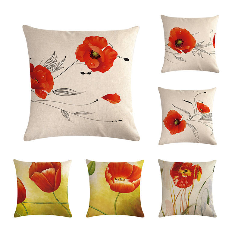 Beautiful Red Flower Cushion Cover Pillow Case Color Cloth 45X45cm Thin Linen Cotton Bedroom Sofa Decoration ZY197