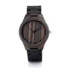 BOBO de AVES H07 hombres Primera Marca de Lujo Reloj Relojes de Madera de Ébano De Madera Banda Relojes de Cuarzo Para Los Hombres Aceptar La Personalización OEM