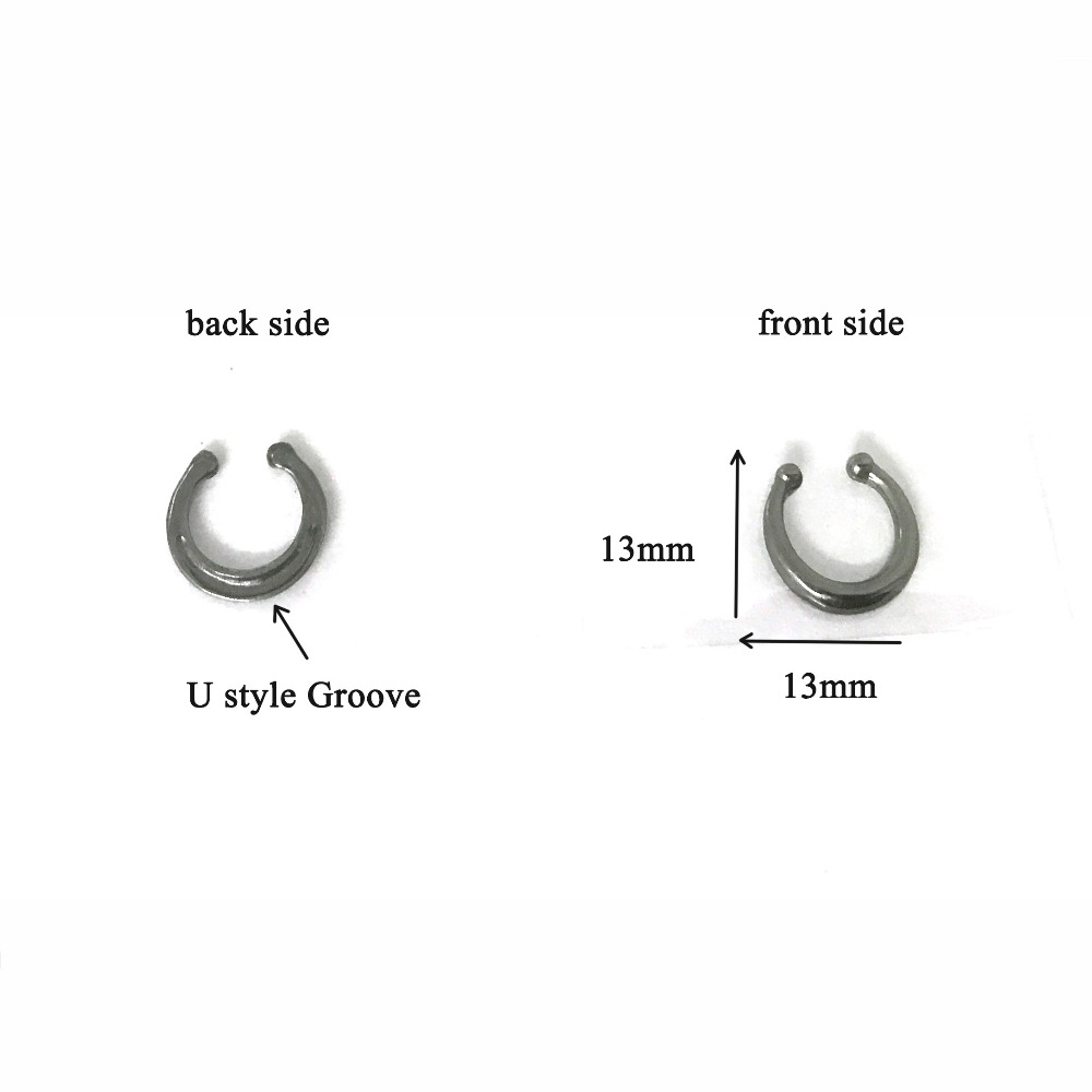 fashion crystal fake nose ring black color round septum