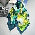 2016 Moda bandana bufandas y Abrigos de la Mujer de la Marca 100% Bufanda de Seda de Lujo Con Flor Classcial Mujeres Plaid Imprimir hijab Del Mantón de la Alta Calidad