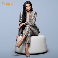 2019 winter new sexy snake pattern women's suit long sleeved jacket & pants 2 two piece celebrity runway evening party set suit