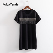 Tassel Dress Women Vestidos Plus Size 3 4 5 6 XL Casual O-neck Basic Black Short Sleeve Summer Style KKFY3536