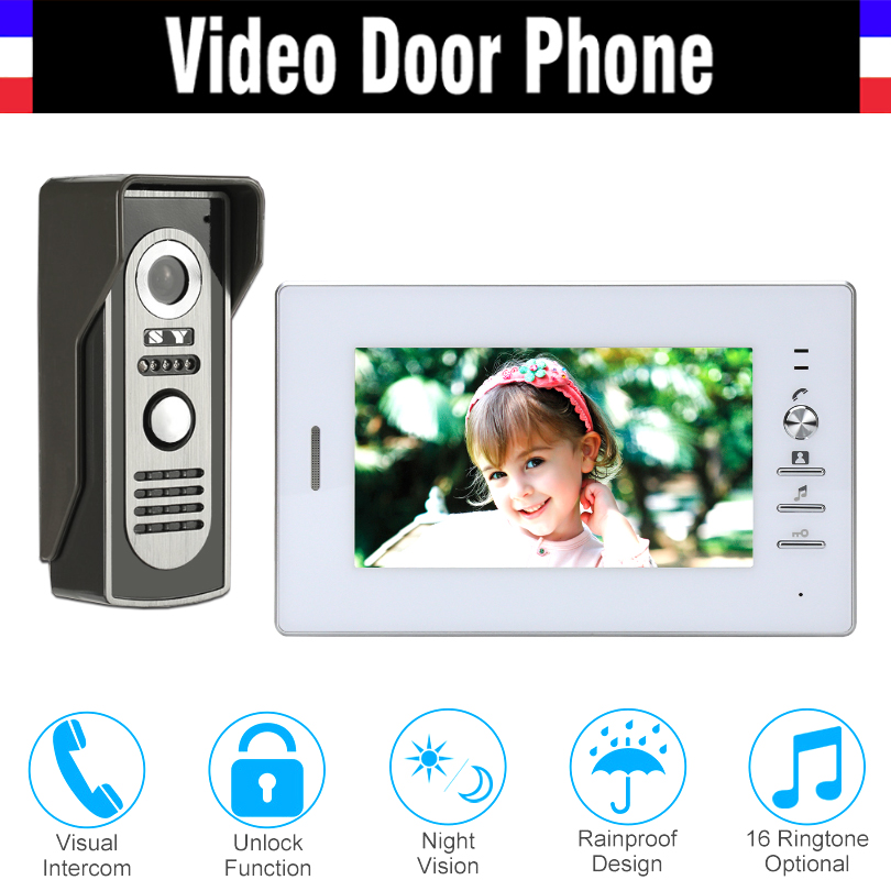 Video Doorbell Home Security 7 inch Monitor Video Door phone video Intercom System IR night vision Aluminum Alloy Camera tmezon 4 inch tft color monitor 1200tvl camera video door phone intercom security speaker system waterproof ir night vision 4v1