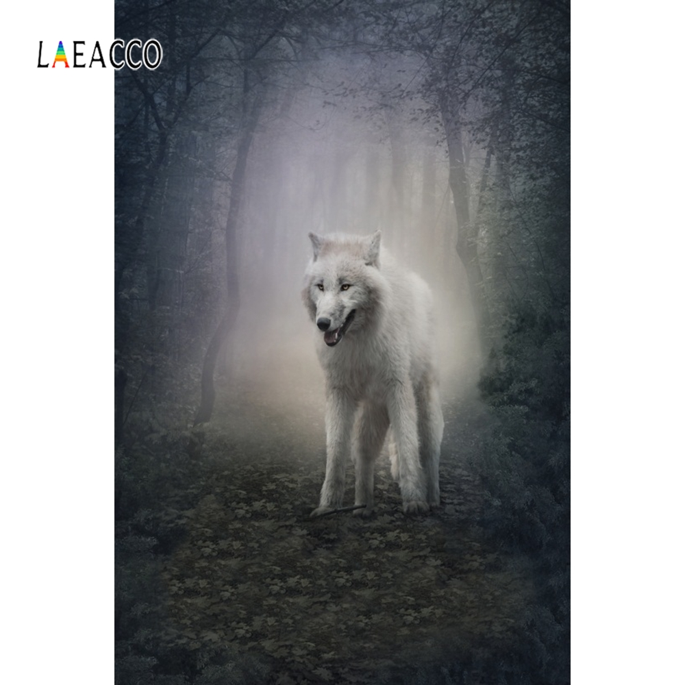 Laeacco White Wolf Tree Leaves Forest Fantasy Glen Animal Photography Backgrounds Customize Photographic Backdrops For Photo