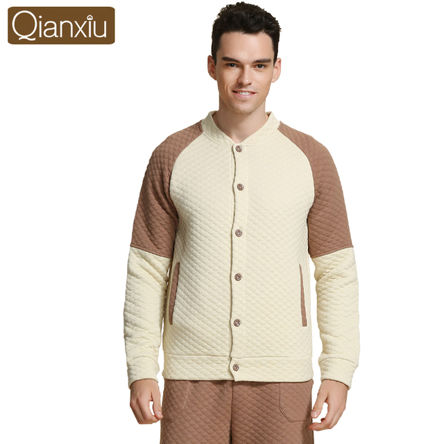 Qianxiu Winter Sleep Lounge  Men  Patchwork Home onesies for adults Thicken Pajama Sets For Men