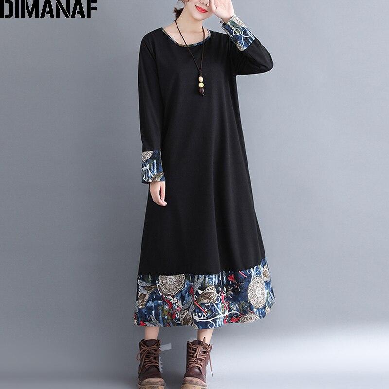87580021fdc DIMANAF Women Long Dresses Elegant Ladies Vestidos Female Clothes Vintage Plus  Size Linen Print Spliced Loose