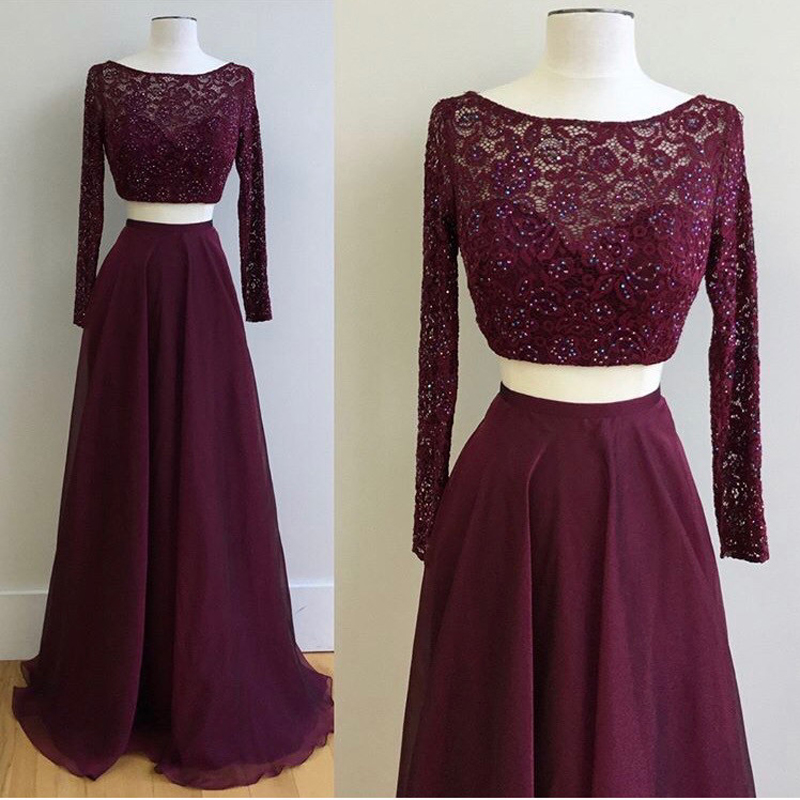 Dresstells 2 Piece Prom Dress Burgundy Lace Long Sleeves A