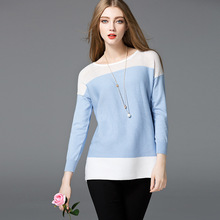 2016 New Autumn Womens Solid Color Cotton Sweater Womens Three-Quarter Sleeves Sweaters Womens O-Neck Casual Style Pullovers