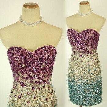 3a0da5600 Sin tirantes de lujo colorido con cuentas de cristal vestidos de fiesta  corto de baile vestido de 2019 8 grado graduación vestidos cóctel vestidos  Sexy ...