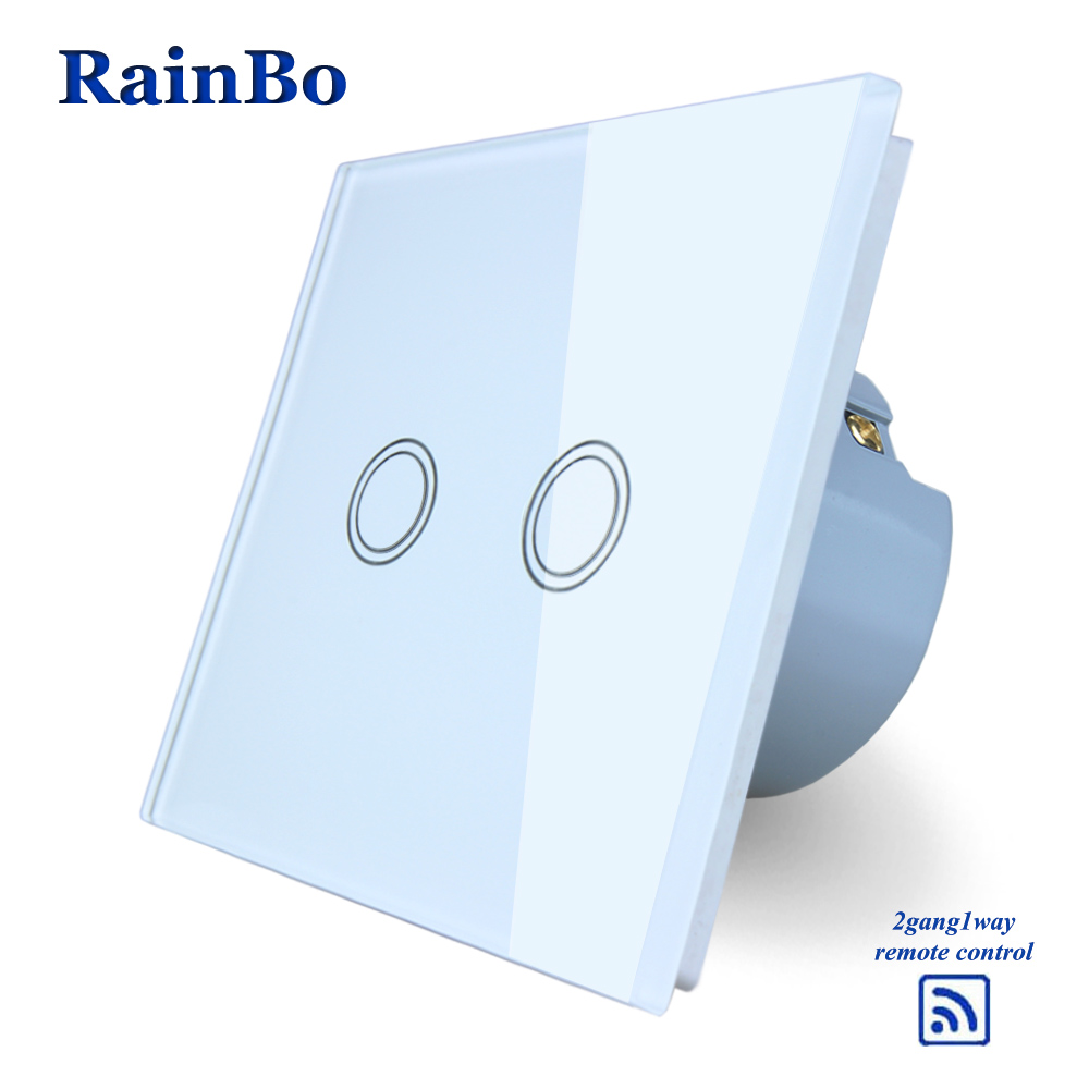 RainBo Crystal Glass Panel  EU Wall Switch 110~250V Remote Touch Switch Screen Wall Light Switches 2gang1way A1923XW/B makegood eu standard smart remote control touch switch 2 gang 1 way crystal glass panel wall switches ac 110 250v 1000w