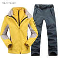THE ARCTIC LIGHT Women Camping Hiking Ski Jacket Pants 1 Set Outdoor Waterproof Windproof With Thicken Fleece Coat&Trousers
