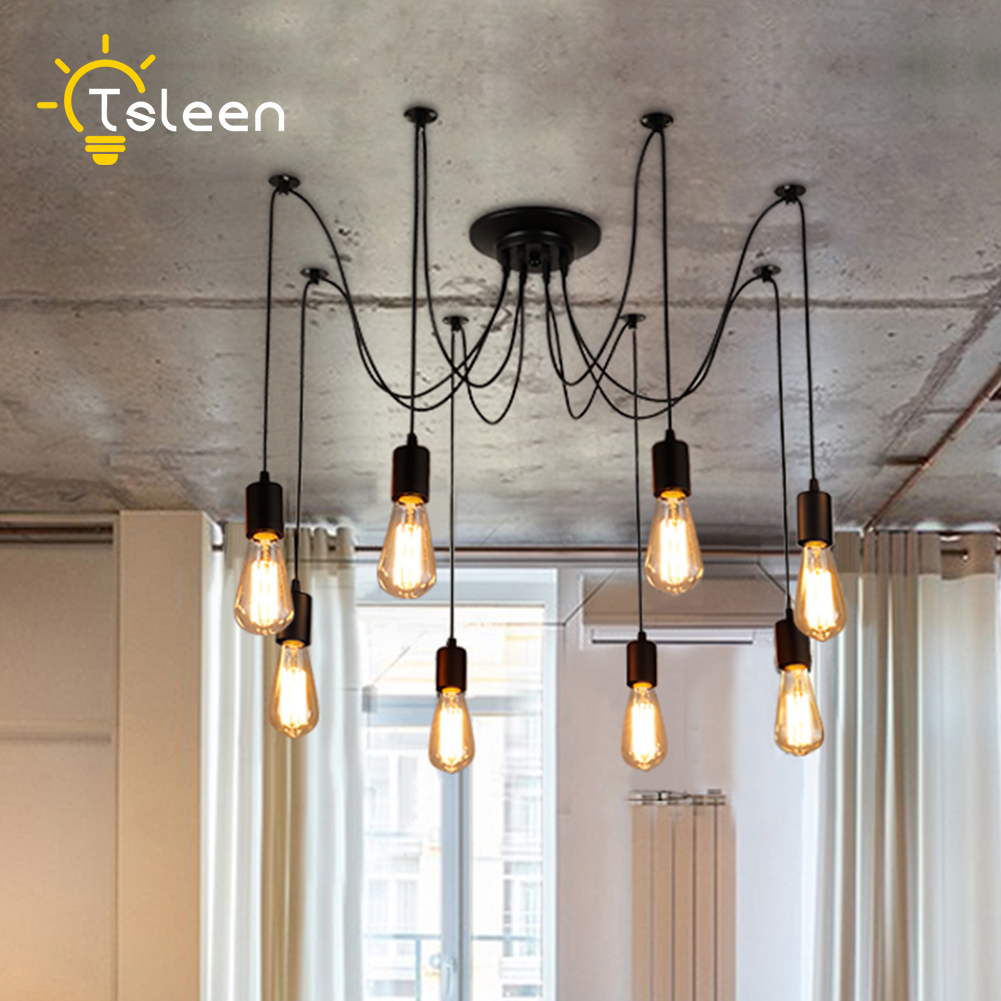 TSLEEN Free Shipping! E27 LED Retro Edison Bulb Pendant Lights DIY Ceiling Hanging Vintage Loft Nordic Classic Golden Lamps 220V diy vintage lamps antique art spider pendant lights modern retro e27 edison bulb 2 meters line home lighting suspension