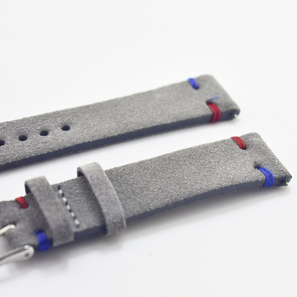 Handmade Leather Comfort Gray Suede Strap 18mm/20mm/22mm Stainless Steel Buckle High Quality Red Blue Line 2018 new eyki h5018 high quality leak proof bottle w filter strap gray 400ml