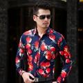CE07 L-6XL 7XL Hombres Camisas de Manga Larga de Otoño 2016 Mens Camisas Floreadas Camisa Hawaiana Hombres Camisa de Vestir Camisas Párr Hombre