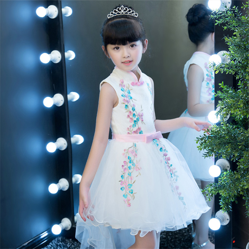 2018 Kids Girls Flowers Dress Baby Girl Birthday Wedding Party Evening Dresses Children Fancy Princess Ball Gown pageant Clothes new girls dress baby girl birthday party dresses children fancy princess ball gown flower girl dress kids clothes