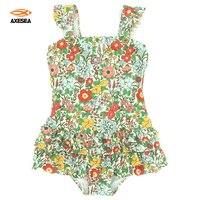 2017 Baby Girls Swimsuit Blue Floral Print Cute Kids Beachwear One Piece Child Swimwear Children Swimming