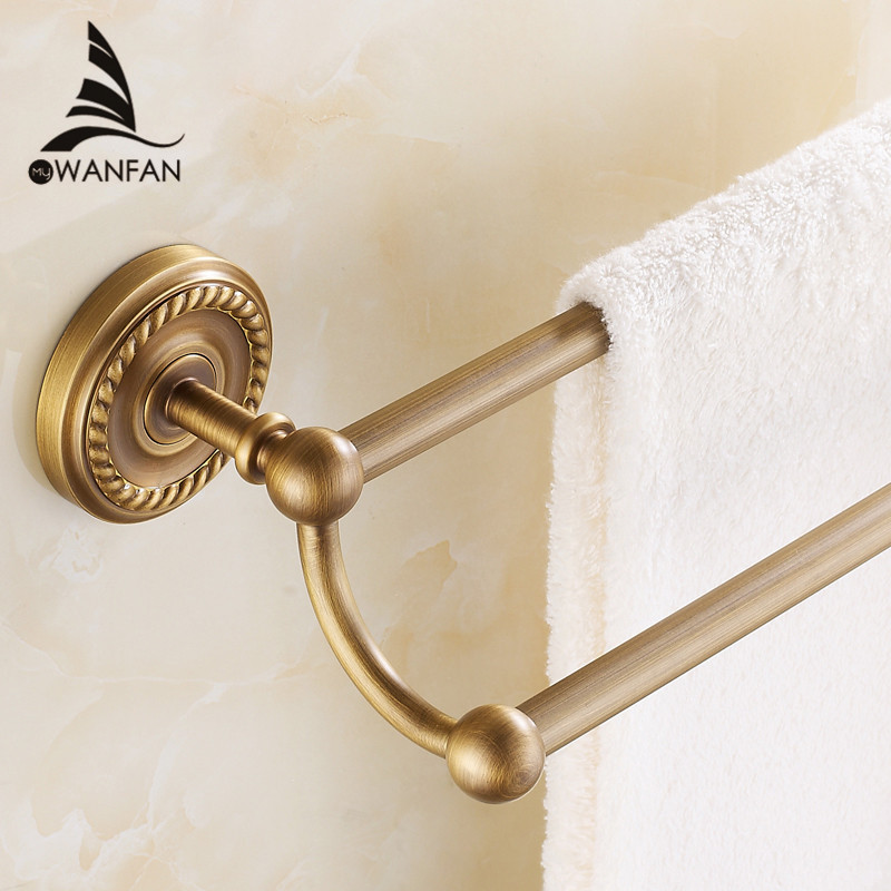 Towel Bars Double Rails Brass Wall Shelves Towel Holder Bath Shelf Towel Hanger Bathroom Accessories Black Towel Rack HJ-1311 bathroom shelves 5 towel hooks brass 2 tier rails towel bars wall shelf bath hangers bathroom accessories towel holder fe 8601