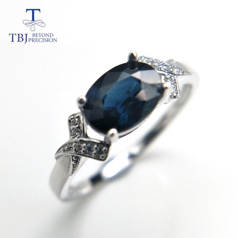 TBJ, Australiano naturale blu Zaffiro ovale cut 6*8mm 1.4ct Anello della pietra preziosa, design classico Anello in argento 925
