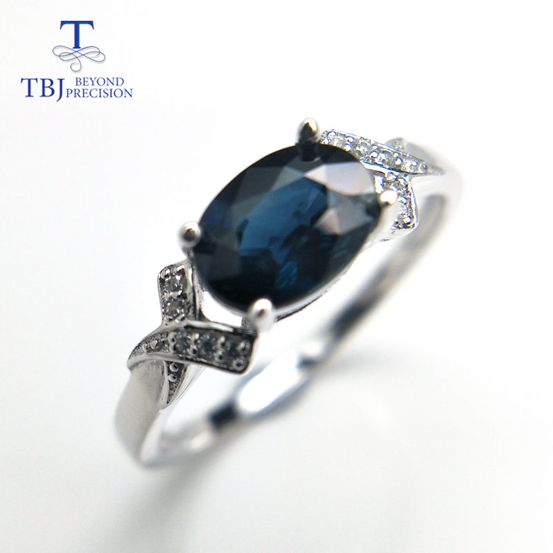 TBJ, Natural Australian blue Sapphire oval cut 6*8mm 1.4ct gemstone Ring ,classic design Ring in 925 sterling silver