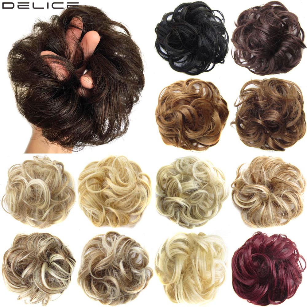 Delice Girls Curly Scrunchie Chignon With Rubber Band Brown Gray Synthetic Hair Ring Wrap On Messy Bun Ponytails