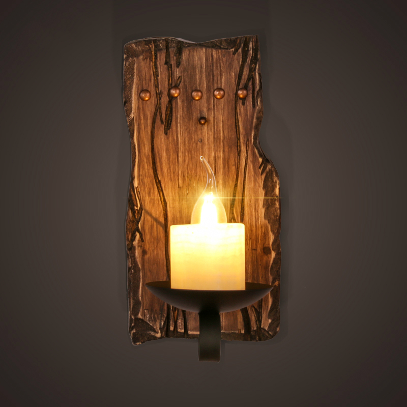 Hot retro industrial wall lamp old boat wood american country hot retro industrial wall lamp old boat wood american country nostalgia candle wall light for bar cafe store free shipping in led indoor wall lamps from aloadofball Choice Image