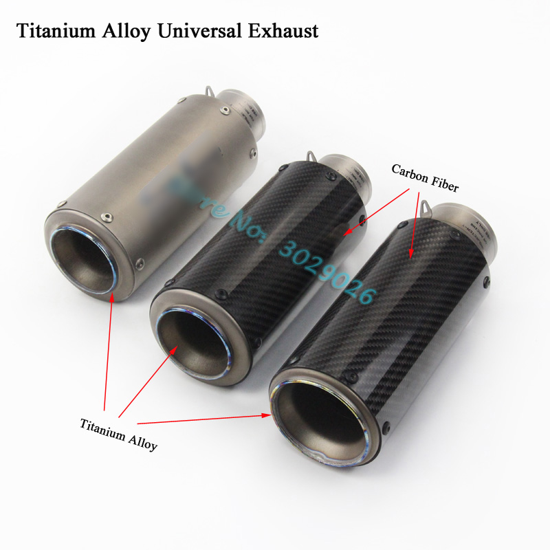 Titanium Alloy Inlet 61mm 51mm Universal Exhaust For Most Motorcycle Modified Escape Muffler Carbon S1000RR Z900 R6 CBR Ninja